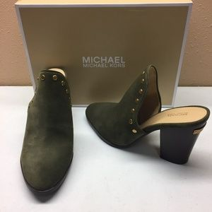 Michael Kors Green Studded Mules 10M